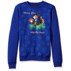 Wanna Play with My Nuts? Ugly Christmas Sweater L
